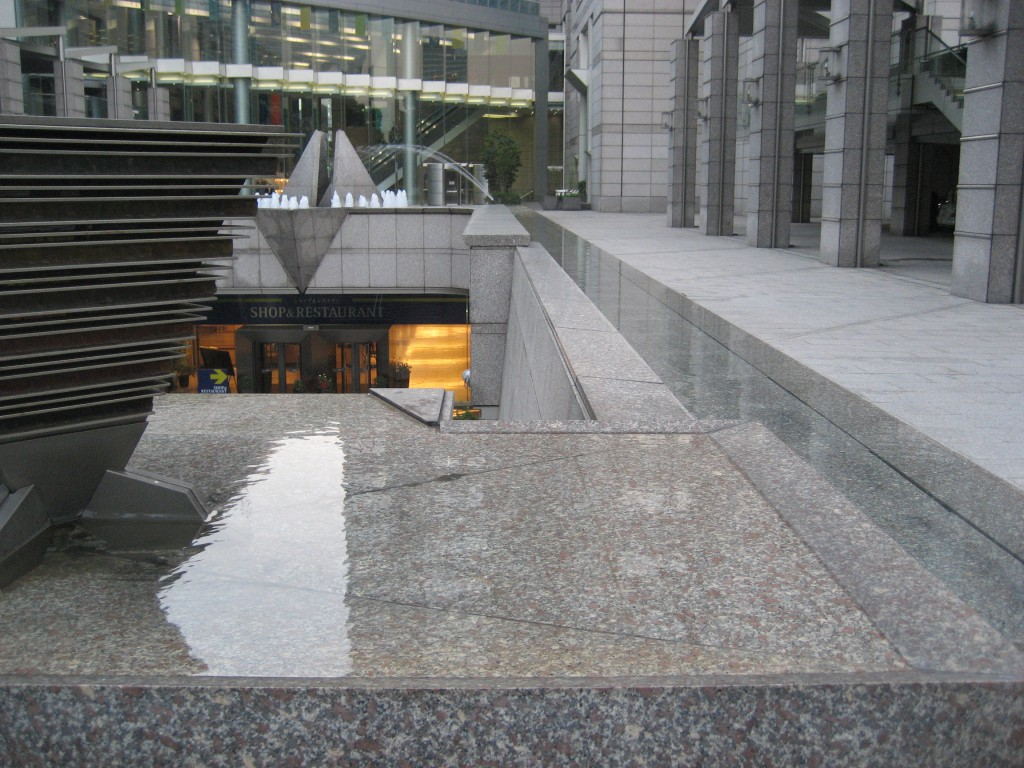 "The ""Infinity Fountain"" outside the Park Hyatt. This is where the water makes a U-turn and goes down the stairs. (Photo: Brian Cramer)"