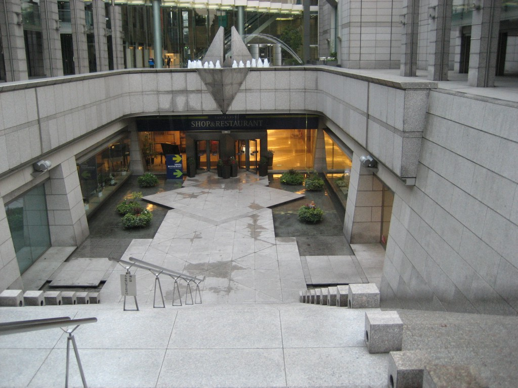 "The ""Infinity Fountain"" outside the Park Hyatt. Although not evident in the picture, the water travels down beside the stairs. (Photo: Brian Cramer)"