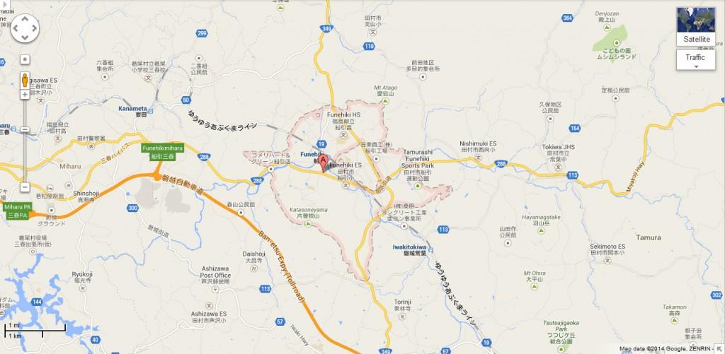 Funehiki, Tamura, Fukushima, Japan (Map: Google)