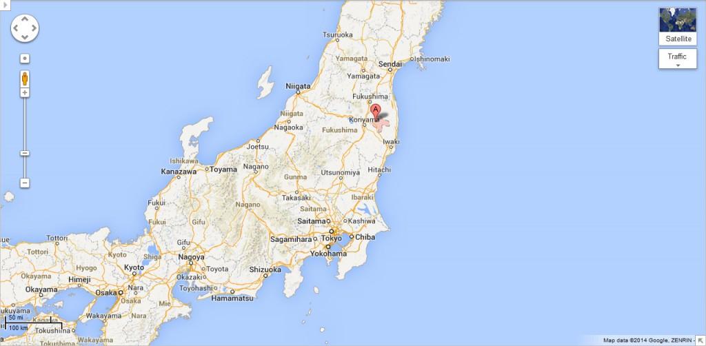 Tamura, Fukushima, Japan (Map: Google)