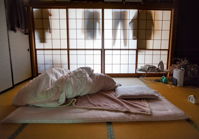 A traditional Japanese futon (bed), but many Japanese also switch in more traditional beds.