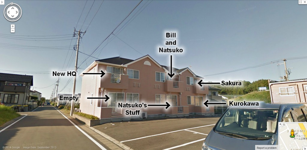 The new apartment assignments after Bill and Natsuko purchase the complex. (Photo: Google)