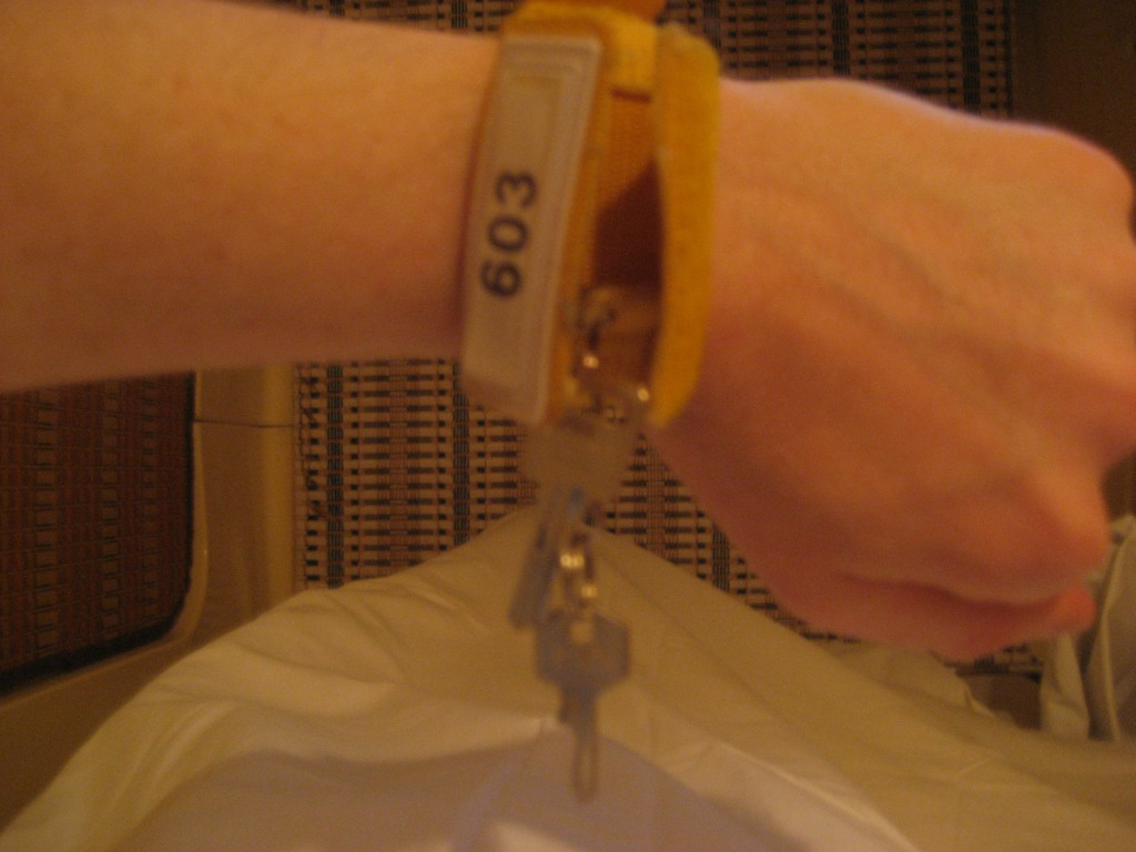 Bill's locker key bracelet for his stay in the Capsule Hotel. (Photo: Brian Cramer)