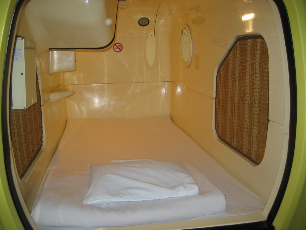 "Bill's ""room"" at the capsule hotel. (Photo: Brian Cramer)"