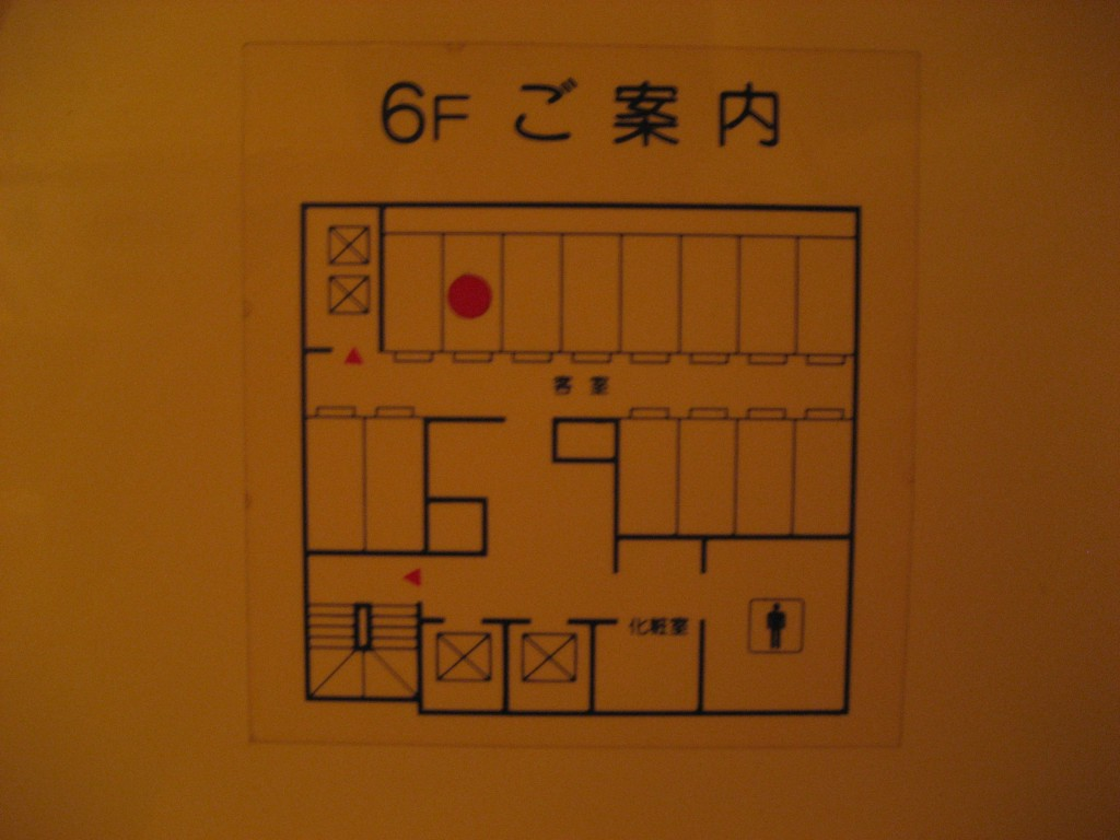 A map of the 6th floor of the capsule hotel. (Photo: Brian Cramer)