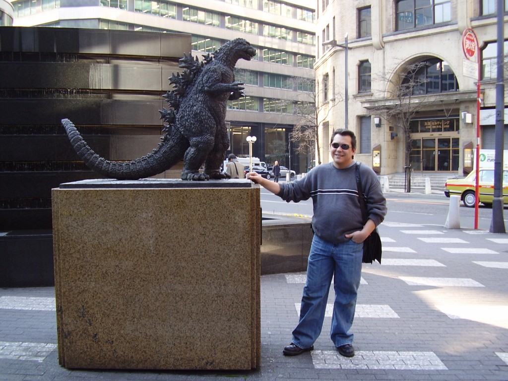 Godzilla is not so menacing in person, as my friend Ryan demonstrates. (Photo: Brian Cramer)