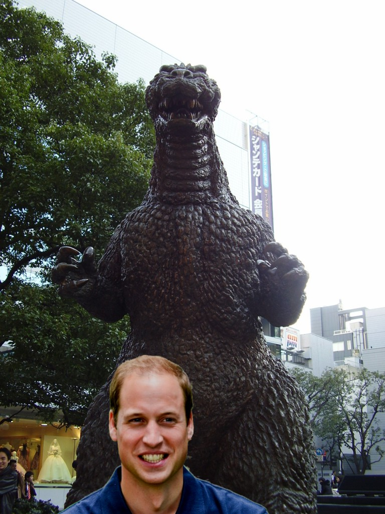 Artist's rendering of Bill using distance and camera angles to make Godzilla look fierce. (Photo: Godzilla by Brian Cramer, Prince William by CNN)